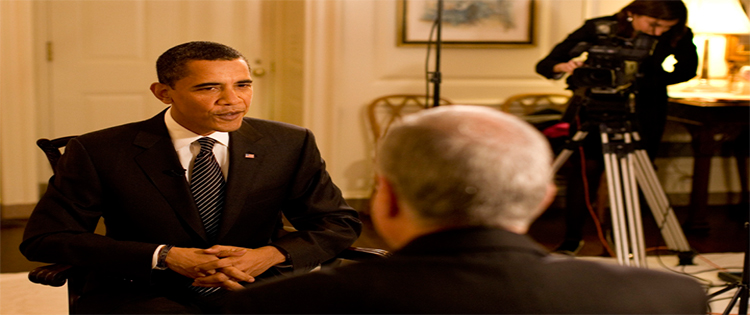 Former President Obama is being interviewed