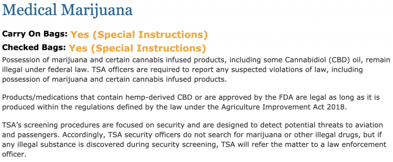 TSA travel guideline on flying with CBD - What it looks like now