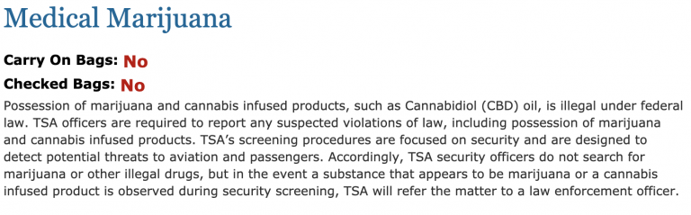TSA travel guideline on flying with CBD- What it looked like before
